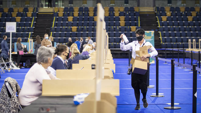 Staff counting votes for the Scottish Parliamentary election