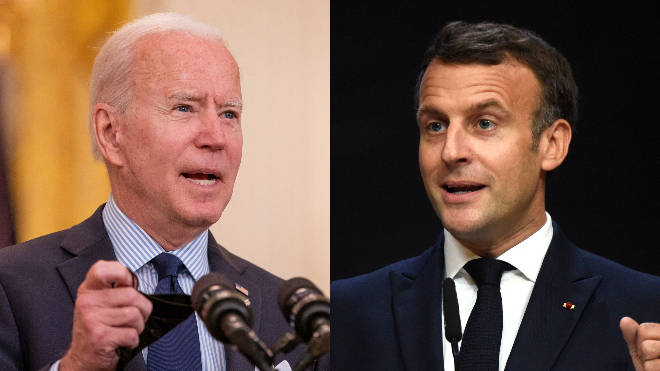 Emmanuel Macron (R) has called on the US to distribute more Covid jabs abroad