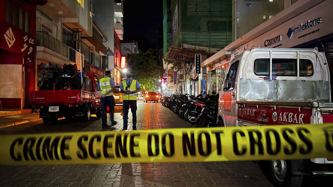 The scene of the blast in the Maldives