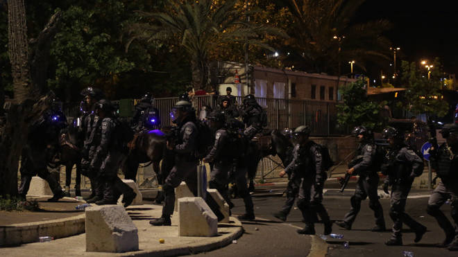 Israeli police during clashes amid tension outside the Damascus Gate of Jerusalem's Old City
