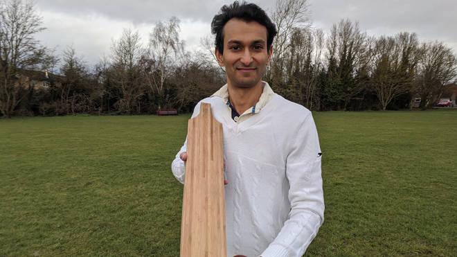 Dr Darshil Shah with a bamboo cricket bat