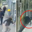 CCTV shows the shocking moment the girl fell between the tracks