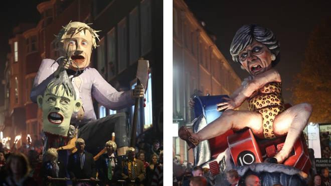 Boris Johnson and Theresa May effigies at Lewes Bonfire