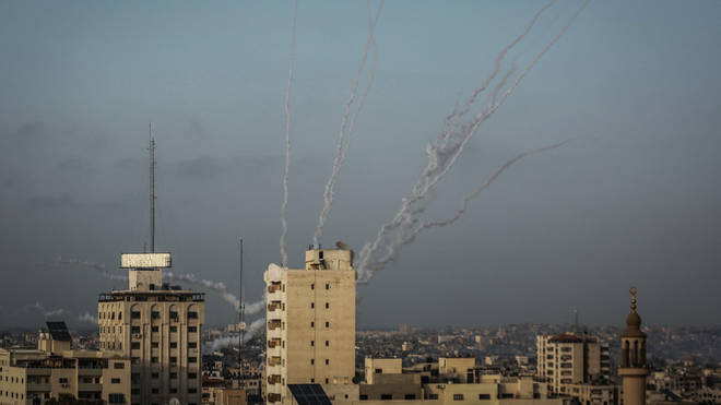 Rockets are fired by Hamas from Gaza City towards Israel
