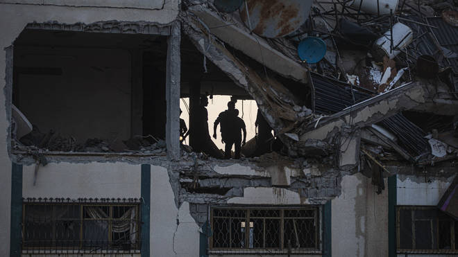 Palestinians woke up to the rubble of buildings destroyed by Israeli air strikes