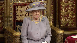The Queen delivering her speech in the Lords today at the state opening of Parliament