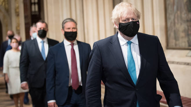 Boris Johnson and Sir Keir Starmer made their way to the House of Lords to hear the Queen's Speech