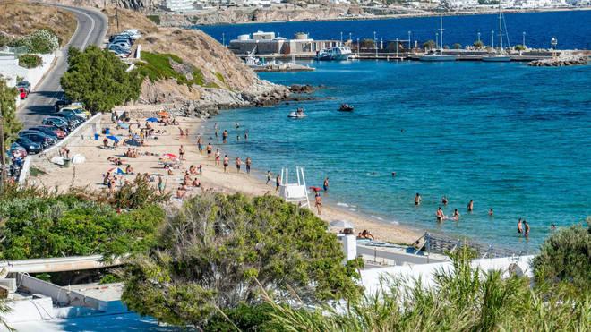 Agios Stefanos beach in Mykonos island, Greece