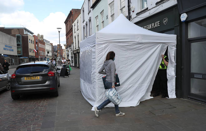 A tent outside the cafe