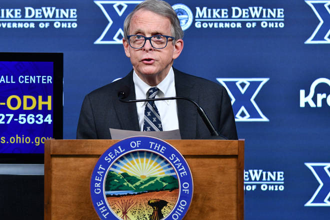 Governor Mike DeWine during a daily coronavirus briefing