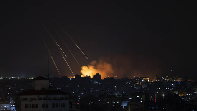 Smoke rises following Israeli missile strikes on Gaza City