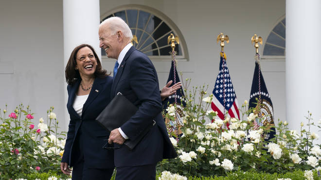 """""""Today is a great day for America,"""" President Joe Biden said during a Rose Garden address"""