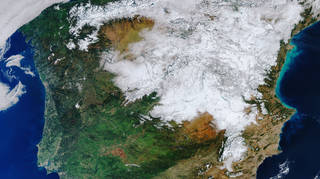 Sentinel-3 satellite image shows an unusual and rare blanket of snow covering a large swathe of Spain, including its capital Madrid, during a cold snap in January 2021 (ESA/PA)