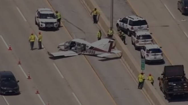 The plane on the interstate road