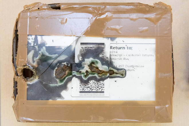 One of the packages with improvised explosive devices sent by Ovidijus Margelis.