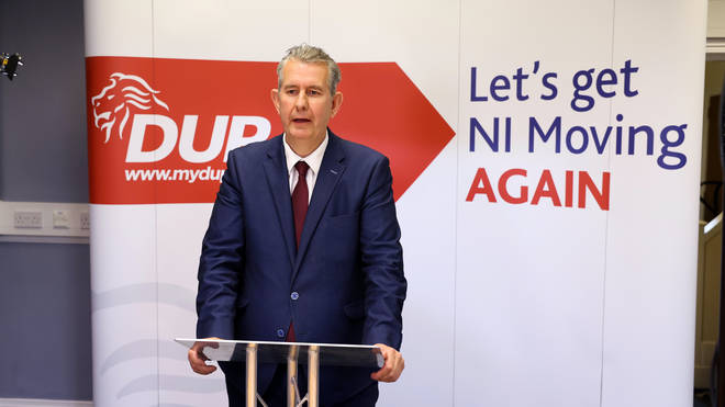 Edwin Poots speaks at DUP headquarters in Belfast after he was elected the party's new leader