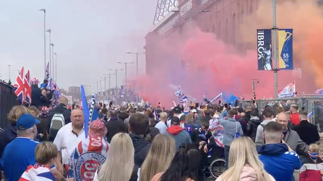 Rangers fans gathered in the thousands at Ibrox.
