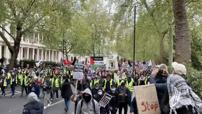 Thousands of protesters marched on the Israeli embassy in London