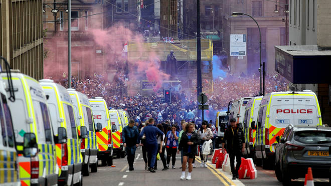Fans had been warned against gathering to celebrate due to rising Covid-19 cases in Glasgow.