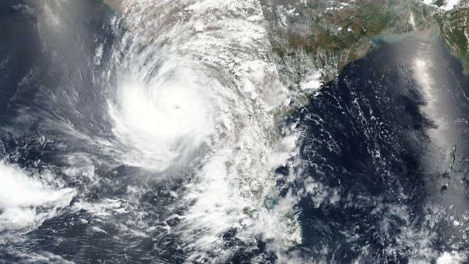 The cyclone seen via satellite