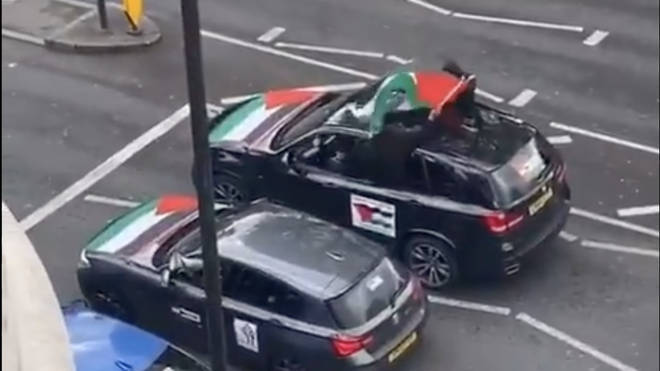 Footage on social media showed a convoy of cars covered with Palestinian flags passing down Finchley Road, in north London, with passengers heard to shout offensive language and threats against Jews.