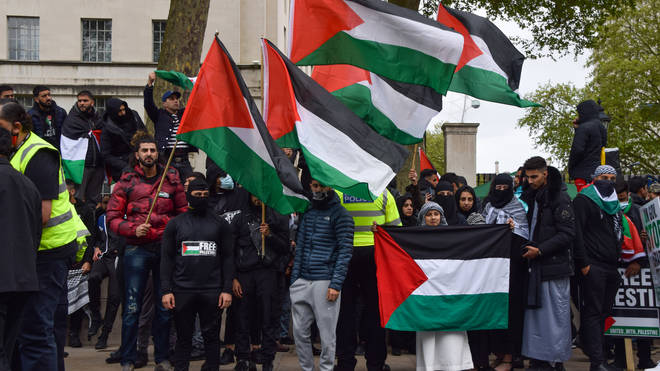 The incident took place as thousands protested outside the Israeli embassy in London