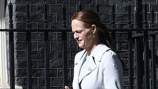 Nurse Jenny McGee arrives at Downing Street for a 72nd birthday celebration for the NHS in July 2020