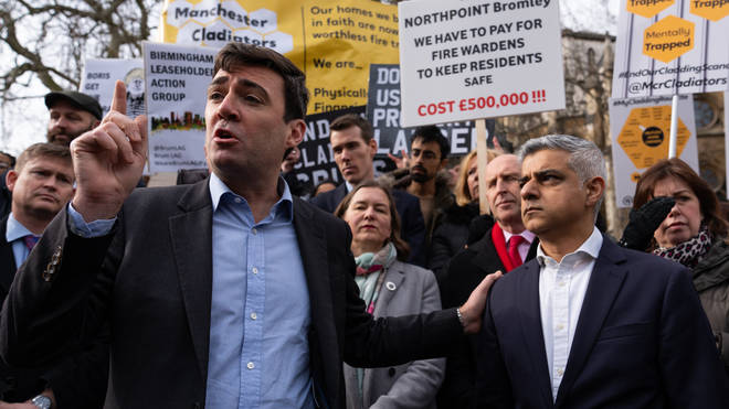 Andy Burnham (left) and Sadiq Khan (right) have called for more action over cladding in their cities