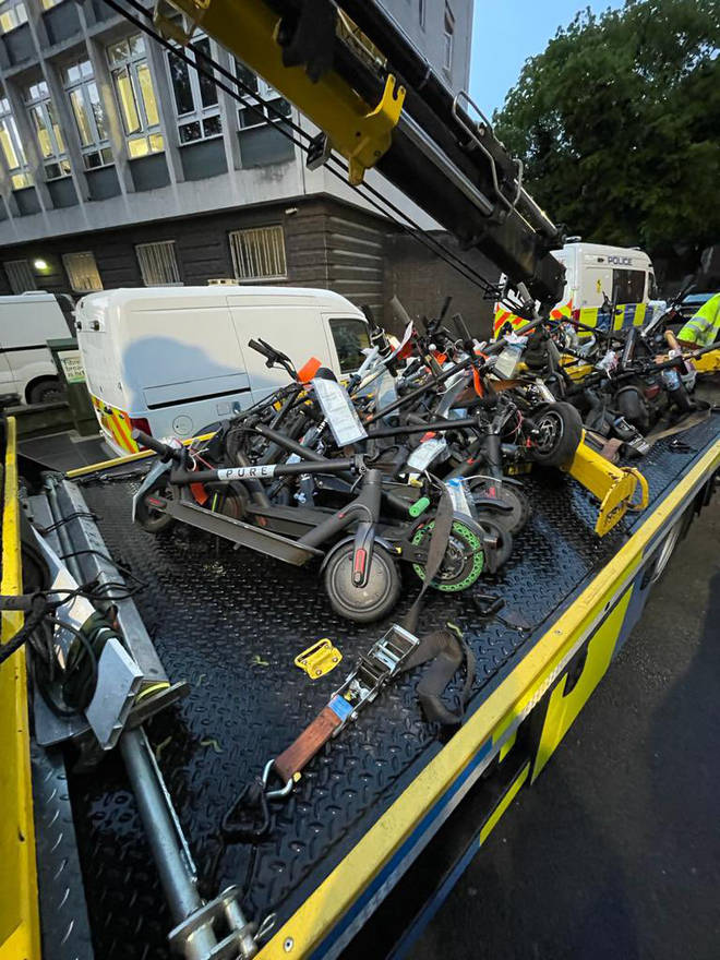 Police launched an operation in south London clamping down on e-scooters