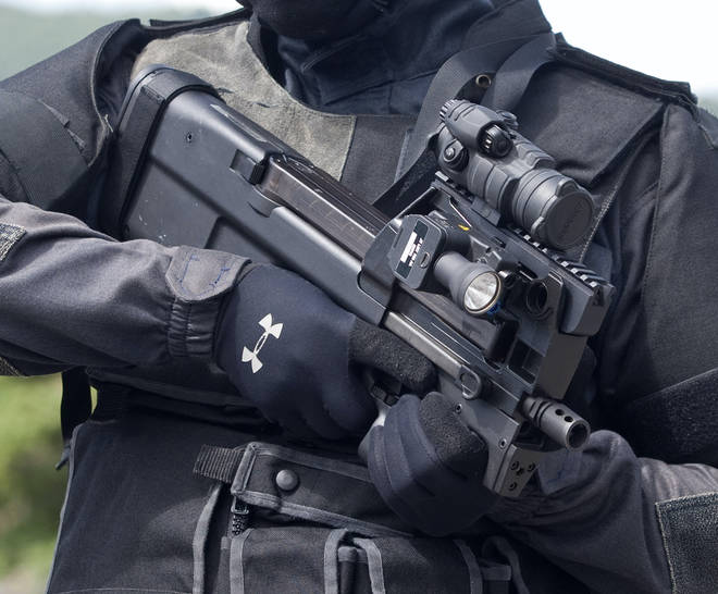 File photo: The soldier is believed to be carrying a P90 submachine gun.