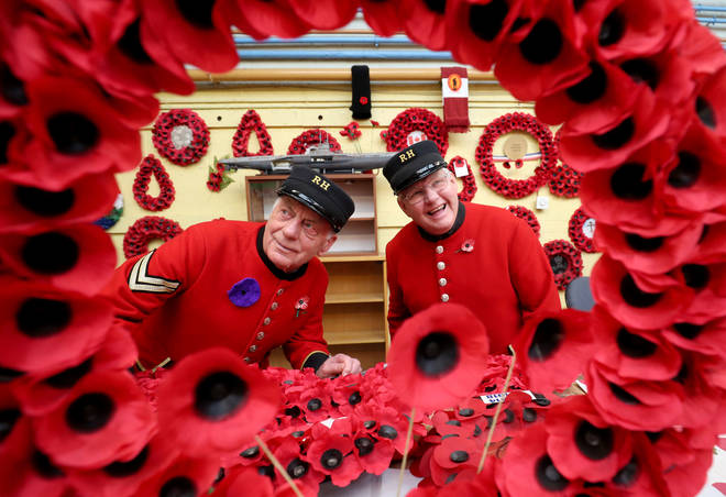 Chelsea Pensioners Take A Look Around The Workshop During A Visit To The Lady Haig Poppy Factory In Edinburgh