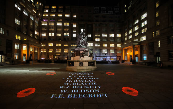 The Names Of 14,000 Local Soldiers Who Lost Their Lives In The First World War Are Projected Onto The Floor Of Exchange Flags, Liverpool