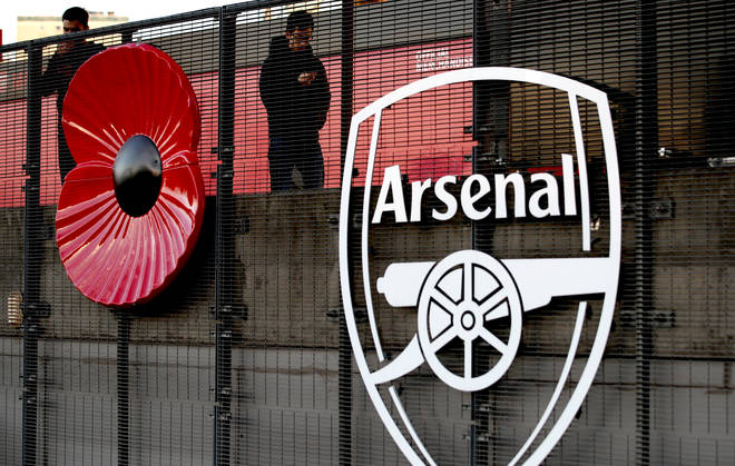 A Giant Poppy On Display Outside Of Emirates Stadium