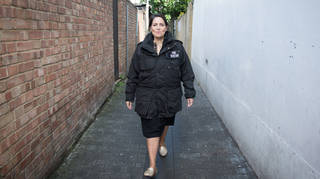 Home Secretary Priti Patel during a National Crime Agency operation at address in east London yesterday