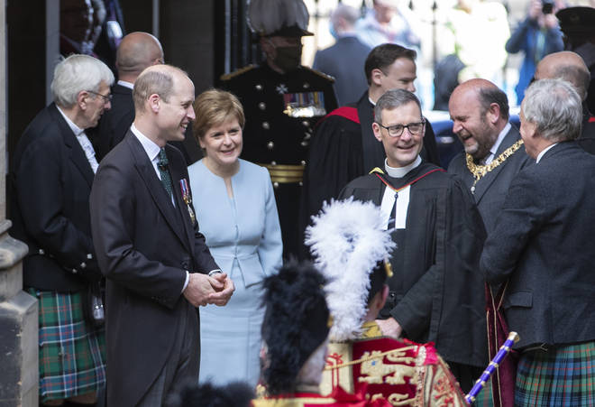 William, pictured next to Scotland's First Minister Nicola Sturgeon, arrives for the opening ceremony