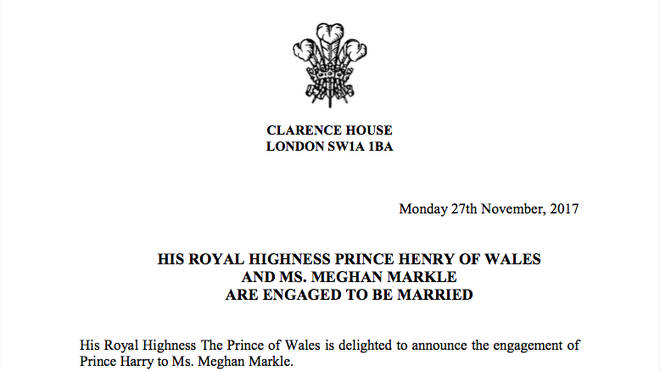 The wedding announcement of Prince Harry and Meghan Markle