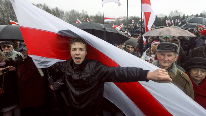 Roman Protasevich attends an opposition rally in Minsk, Belarus, in 2012