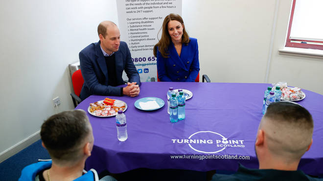 Kate and William spoke to clients at the Turning Point social care centre in Glasgow