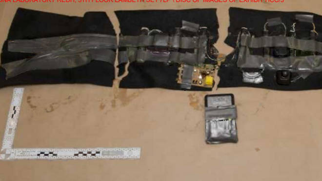The fake suicide vest worn by Khan during the attack