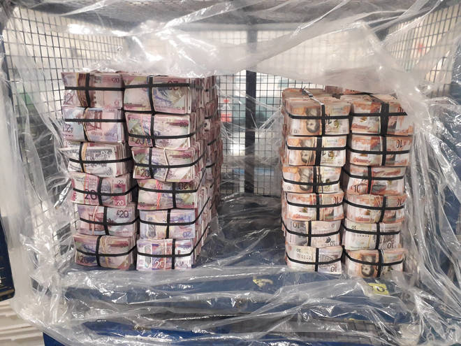 Some of the money seized by officers