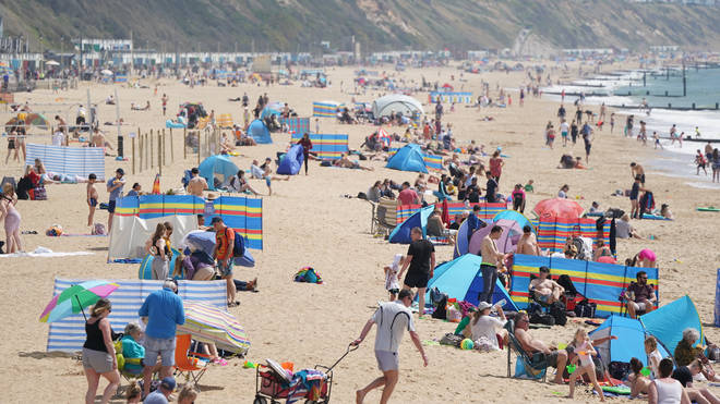 Brits packed beaches in Bournemouth for their bank holiday getaway this weekend