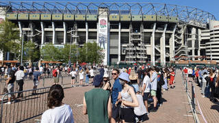 The queue at Twickenham Stadium this afternoon as people turned up for jabs
