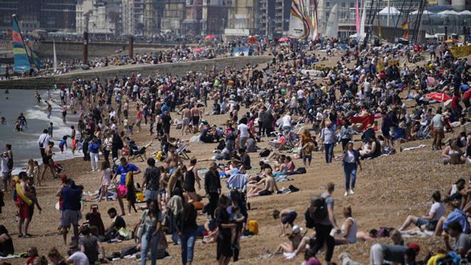 Huge crowds on Brighton beach on Sunday
