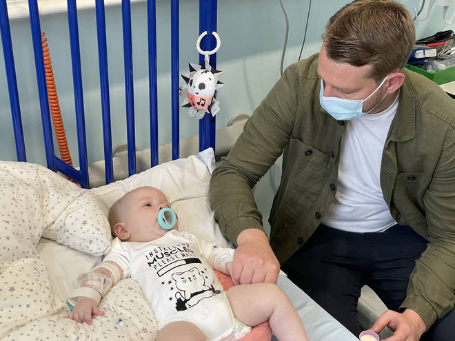 Baby Arthur pictured with his dad Reece Morgan