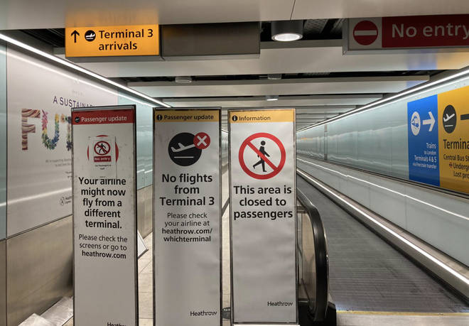"""Arrivals at """"red list"""" Terminal 3 at Heathrow Airport is now blocked off"""