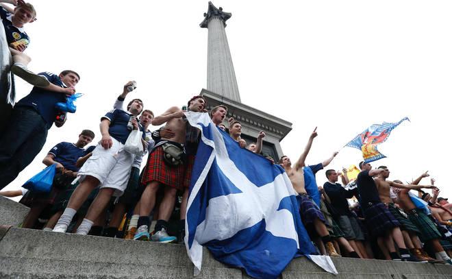 Scottish football fans in Trafalgar Square in 2013
