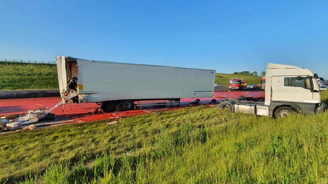 The collision left a sea of tomato purée across the A14 in Cambridgeshire