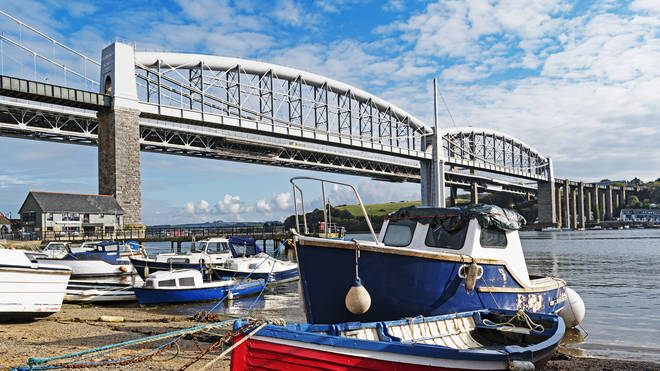 The Royal Albert Bridge over the River Tamar connects Devon and Cornwall