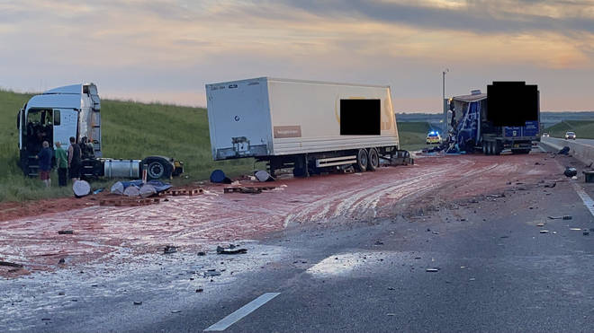 Tomato puree spilled out onto the section of the A14 after a lorry crash on Tuesday evening
