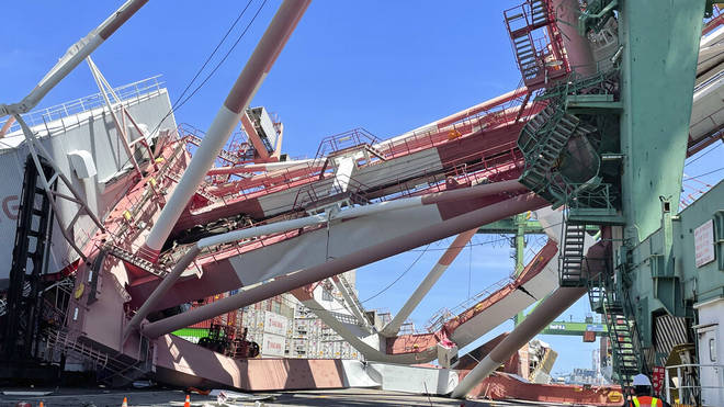 A massive crane toppled over at a port in Taiwan